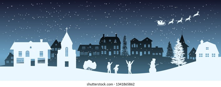 Christmas night panorama. Silhouettes of kids looking at Santas sleigh. Celebration scene. Paper village landscape. Holidays graphic