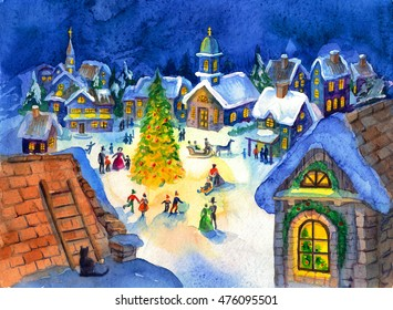 Christmas night watercolor illustration