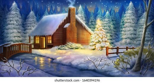 Christmas Night Winter Warm Cabin. Snow land. Fantasy Backdrop. Concept Art. Realistic Illustration. Video Game Digital CG Artwork Background. Natural Scenery.