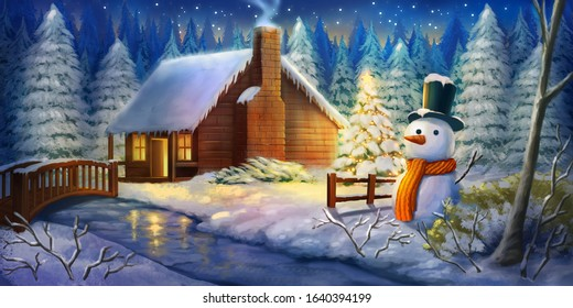 Christmas Night Winter Warm Cabin. Snow land. Fantasy Backdrop. Concept Art. Realistic Illustration. Video Game Digital CG Artwork Background. Natural Scenery.