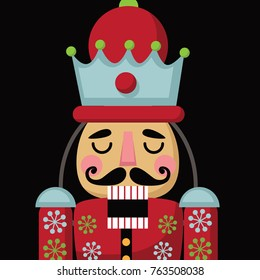 Christmas nutcracker cartoon illustration. Wooden soldier toy gift from the ballet.