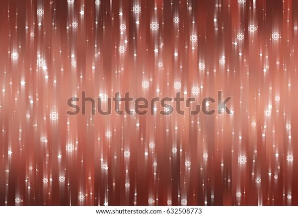 Christmas orange background with falling snowflakes. illustration digital.