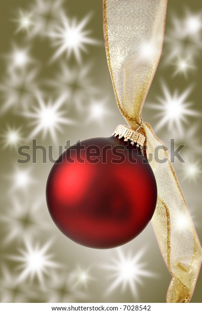 christmas ornament with twinkling lights - bronze background