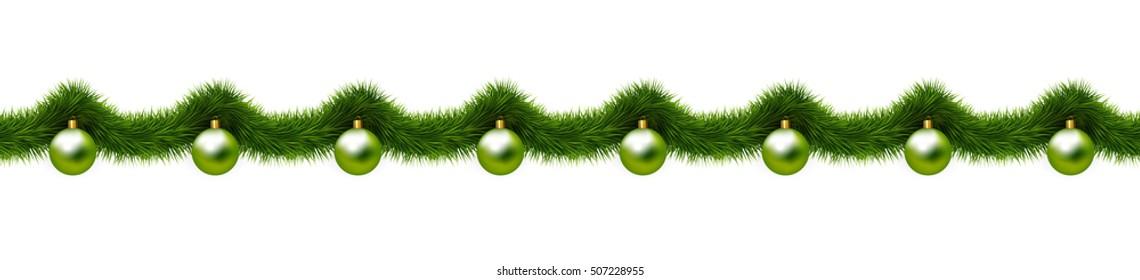 Christmas ornaments, Christmas balls and christmas tree branches. Seamless border. Raster version