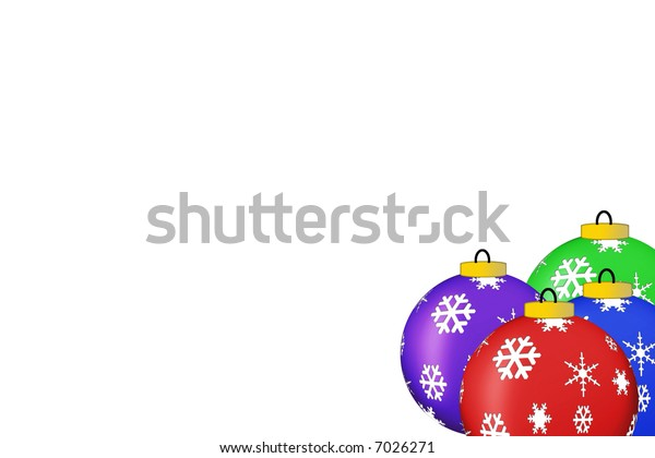 christmas ornaments isolated on white with a copy-space