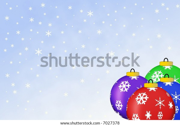 christmas ornaments on a blue gradient background with falling snowflakes