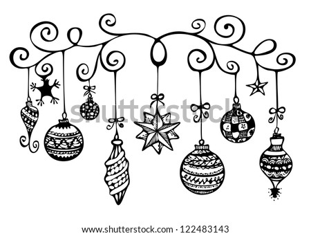 christmas ornaments sketch in black and white