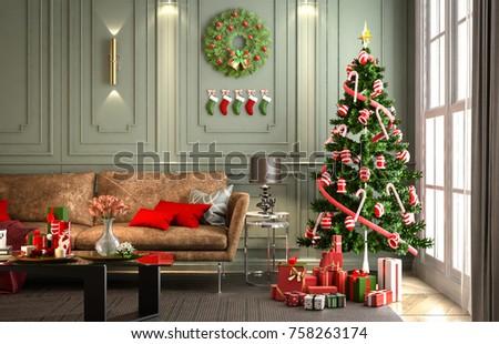 christmas party living room wall green stock illustration royalty rh shutterstock com