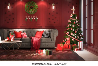 Christmas party at night, in living room - decorations on red wall with a christmas tree and presents under it ,modern classic style, 3D render, 3D illustration