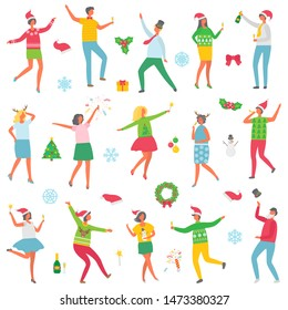 Christmas party people celebration set raster. Man and woman wearing sweaters with reindeer, holding champagne in hands. Dancing with snowman toy
