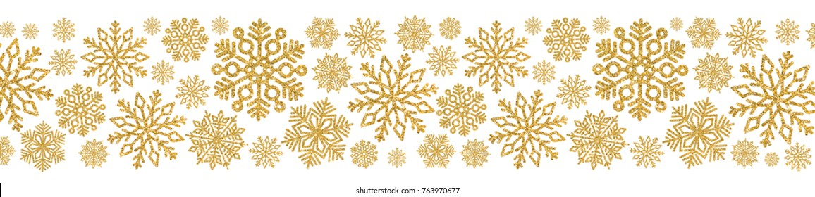 Christmas pattern with gold snowflakes. Border of sequin confetti. Glitter powder sparkling background