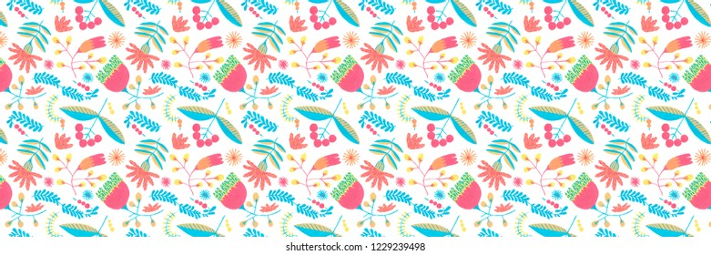 Christmas pattern with holiday herbal background.Holiday herbal seamless pattern with gouache floral illustrations, Christmas background, boho texture.