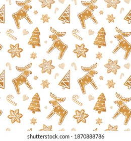 Christmas pattern with moose. A seamless pattern of gingerbread cookies in the form of elk, Christmas tree, snowflakes, lollipops on a white background