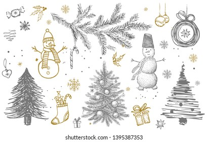 Christmas pattern in sketch style. Hand drawn.