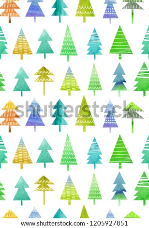 Christmas pattern with tree watercolor background