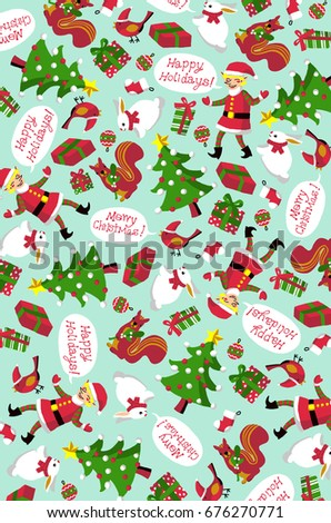 Christmas Pattern Wallpaper Winter Holiday Green Stock Illustration Custom Christmas Pattern Wallpaper
