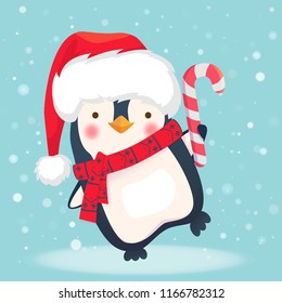 Christmas penguin cartoon illustration. Penguin with christmas candy