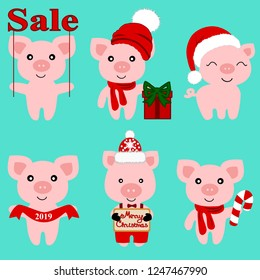 Christmas Pig. Christmas icon. Symbol of the New Year. Collection. New Year. Christmas decoration. illustration
