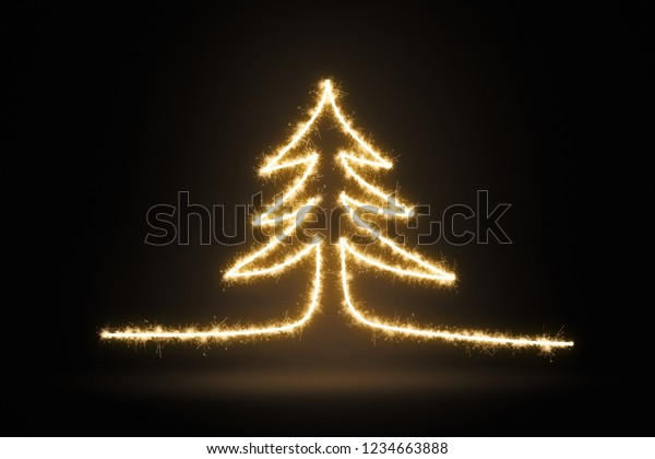 Christmas pine tree drawing with sparkles on a dark background. Long exposure photography like illustration.