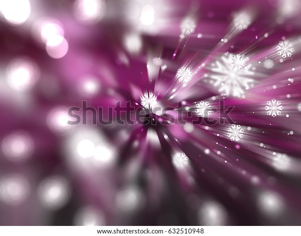 Christmas pink background with falling snowflakes. illustration digital.