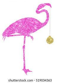 Christmas Pink Glitter Flamingo Gold Ornament Holiday Silhouette