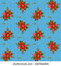 christmas-poinsettia-on-light-blue-260nw