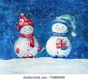 Christmas postcard. Watercolor illustration with snowman