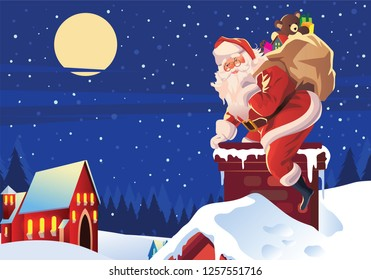 christmas poster of santa sneaking inside the chimney of a house with the gifts.