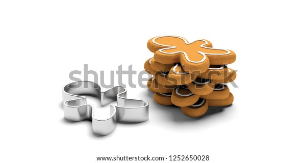 Christmas preparation, gingerbread cookies. Stack of man shaped gingerbread cookies and a cutter, isolated, against white background. 3d illustration