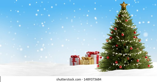 Christmas presents and tree background 3d-illustration