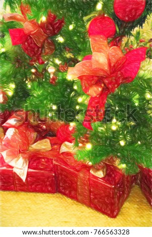 christmas presents wrapped in red paper under an evergreen christmas tree full of decorations this - An Evergreen Christmas