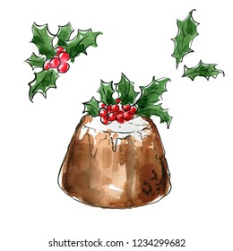 Christmas pudding. The decor. Holly. Sketch watercolor and line ink on a white background.