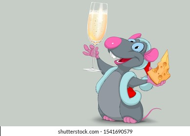 Christmas rat symbol of 2020, rat with a glass of champagne wishes happy new year, rat with a glass of champagne wishes merry Christmas, illustration of Christmas rat isolated on grey background