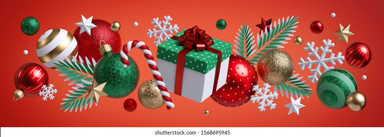 Christmas red background, festive horizontal border. Square gift box. Assorted ornaments, green gold glass balls, stars, snowflakes, fir tree twigs, candy cane. Winter holiday clip art. Seasonal decor