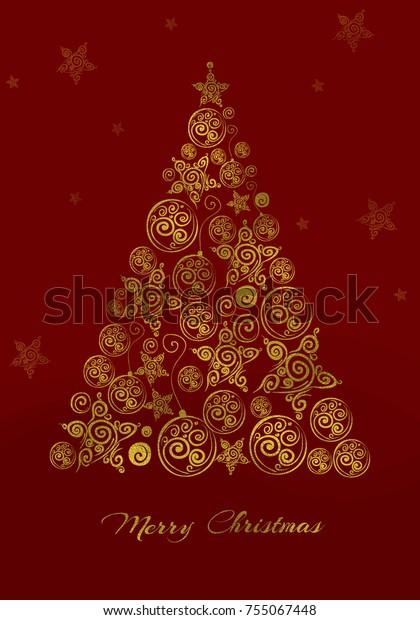 Christmas Invitation Background Gold.Christmas Red Background Gold Christmas Tree Stock