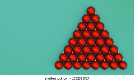 christmas red baubles on green background triangle fir tree shape 3D illustration