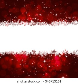 christmas red holiday decoration greeting card with snow and blurry lights