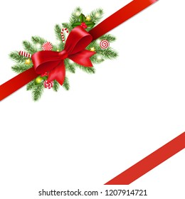 Christmas Red Ribbon And Bow Isolated