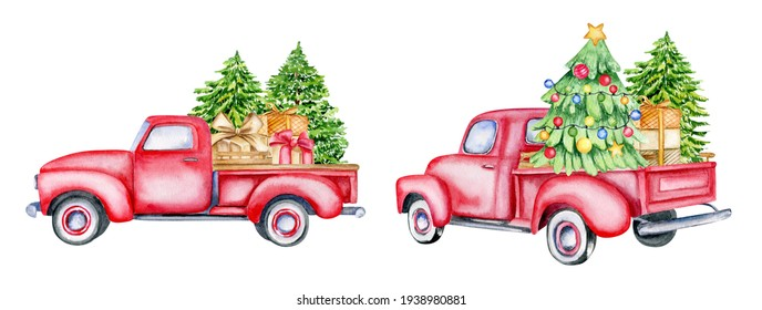 Christmas red vintage pick up with christmas tree and gifts. Hand painted watercolor illustration isilated on white background