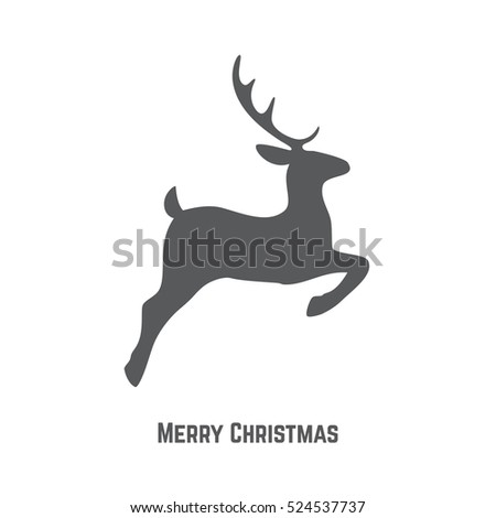 Christmas reindeer silhouette christmas greeting card for Reindeer tail template