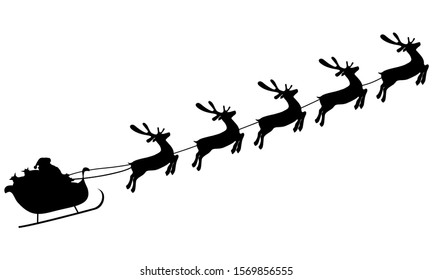 Christmas reindeers are carrying Santa Claus in a sleigh with gifts. silhouette on a white background