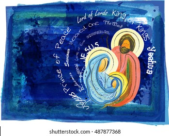 Christmas religious nativity scene, Holy family abstract watercolor illustration Mary Joseph and Jesus in the starry night with copy space for text, with names of Jesus