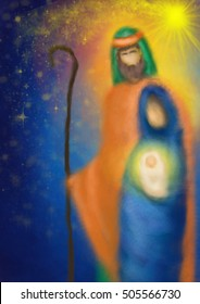 Christmas religious nativity scene, Holy family abstract artistic watercolor illustration Mary Joseph and Jesus in the starry night with copy space for text