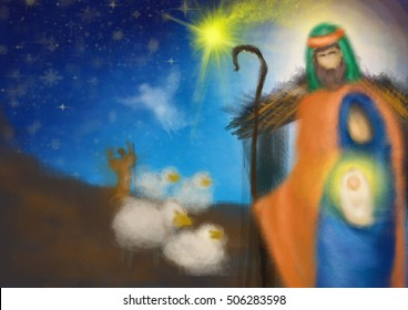 Christmas religious nativity scene, Holy family abstract artistic watercolor illustration Mary Joseph and Jesus, with sheep and shepherd in the starry night with copy space for text