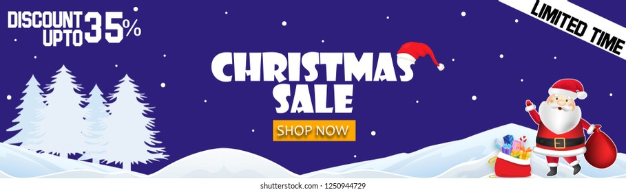 The Christmas sale. Advertising landscape poster for the store. Discounts up to 35% percent.banner for website or brochure.