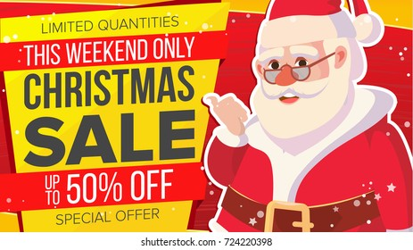 Christmas Sale Banner With Classic Xmas Santa Claus Discount Special Offer Sale Banner. Marketing Advertising Design Illustration. Design For Xmas Party Poster, Brochure