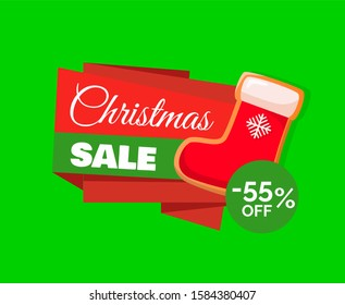 Christmas sale label and red Santa stocking and 55 percent off discount price tag. Sock for gifts, total discounts, advertising tag with Xmas symbol raster
