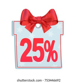 Christmas sale paper price tag label in the form of blue gift box with red twenty five percent (25%), snowflakes and vibrant bow isolated on white background. Festive shopping concept. 3d rendering