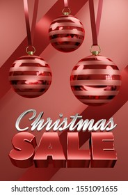 Christmas Sale Poster wide, Christmas bauble hanging on red ribbon on red background A3 paper size, poster size 3d render