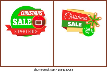 Christmas sale super choice price tag with closeup of Santa belt and snowflake, raster label. Web poster template of discount emblem, 55 percent off